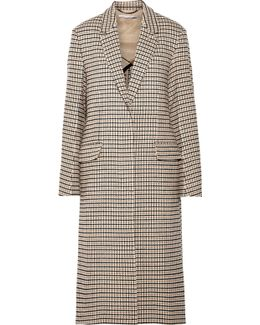 Oversized Checked Wool-blend Coat