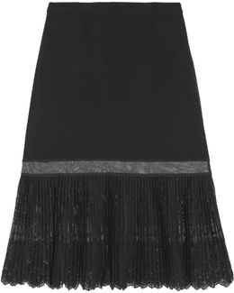 Crepe And Pleated Embroidered Tulle Midi Skirt