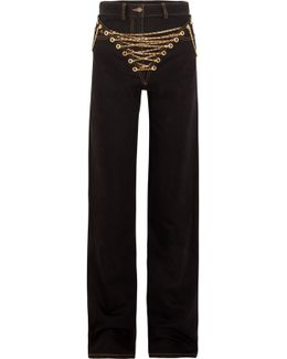 Embellished High-rise Wide-leg Jeans