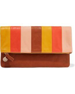 Striped Leather Clutch