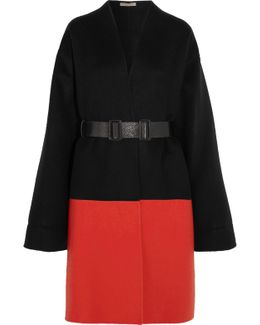 Belted Color-block Cashmere Coat