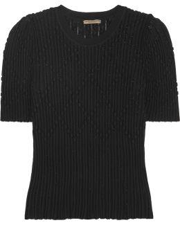 Metallic Ribbed Wool-blend Sweater