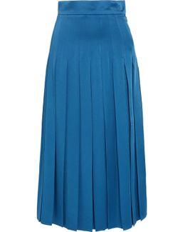 Pleated Cady Midi Skirt