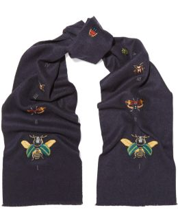Embroidered Silk And Cashmere-blend Scarf