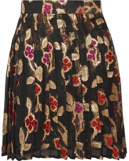 Jenn Pleated Metallic Fil Coupé Chiffon Mini Skirt