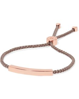 Linear Rose Gold Vermeil And Woven Bracelet