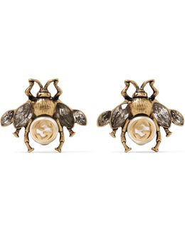 Burnished Gold-tone, Faux Pearl And Crystal Earrings