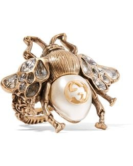 Burnished Gold-tone, Faux Pearl And Crystal Ring