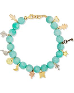 Recharmed Lucky 18-karat Yellow, Rose And White Gold And Amazonite Bracelet