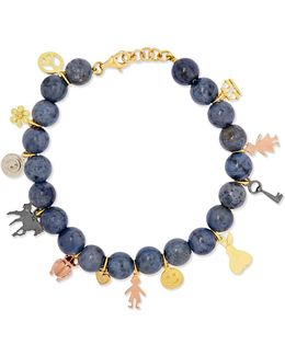 Recharmed Lucky 18-karat Yellow, Rose And White Gold And Dumortierite Bracelet