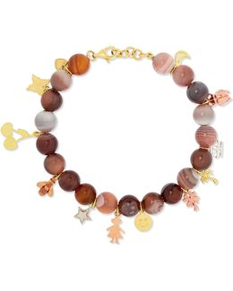 Recharmed Lucky 18-karat Yellow, Rose And White Gold And Agate Bracelet