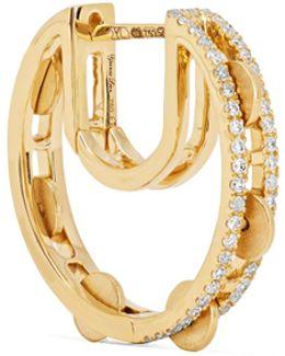 Creole Cymbale 18-karat Gold Diamond Hoop Earring