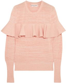 Ruffled Mélange Cotton-blend Sweater