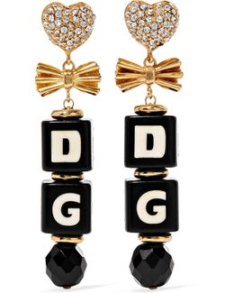 Gold-plated, Swarovski Crystal And Resin Clip Earrings