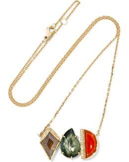 Maya Halo 18-karat Gold Multi-stone Necklace