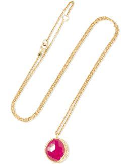Circle Halo 18-karat Gold, Sapphire And Diamond Necklace