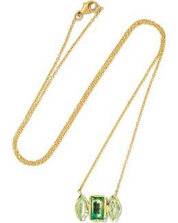 Rivera 18-karat Gold, Tourmaline And Emerald Necklace