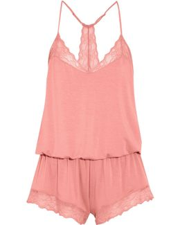 Catalina Lace-trimmed Stretch-modal Jersey Playsuit