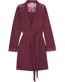Lila Lace-trimmed Stretch-modal Robe
