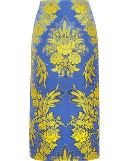 Floral-jacquard Midi Skirt