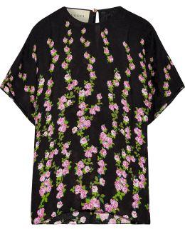 Floral-jacquard Blouse
