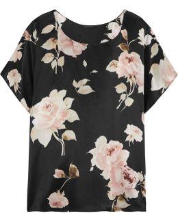 La Donna Del Fioraio Floral-print Silk-satin Pajama Top