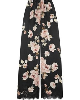 La Donna Del Fioraio Lace-trimmed Floral-print Silk-satin Pajama Pants