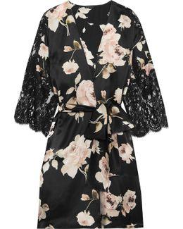 La Donna Del Fioraio Lace-paneled Floral-print Silk-satin Robe