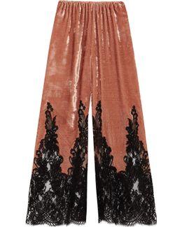 Coprimi D'amore Lace-paneled Silk-velvet Pajama Pants