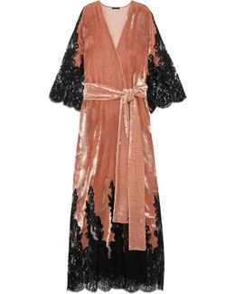 Coprimi D'amore Lace-paneled Silk-velvet Robe
