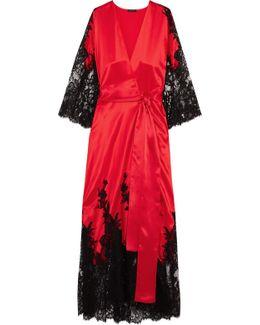 Madame Shehu Lace-paneled Silk-satin Kimono