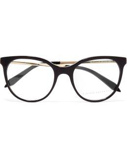 Classic Kitten Cat-eye Acetate And Gold-tone Optical Glasses