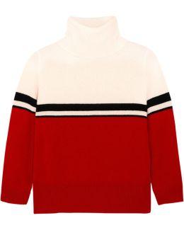 Amy Color-block Cashmere Turtleneck Sweater