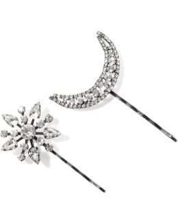 Set Of Two Star And Moon Gunmetal-plated Swarovski Crystal Hair Slides