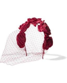 Floral-appliquéd Velvet Veiled Headband