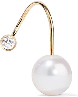 Petite Elipse Kelly 14-karat Gold, Pearl And Diamond Earring