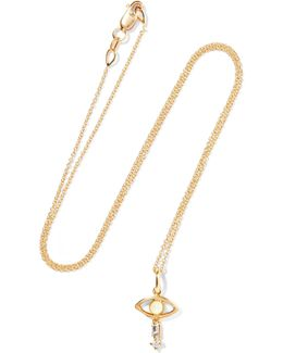 Tiny Baguette Eye 18-karat Gold, Diamond And Opal Necklace