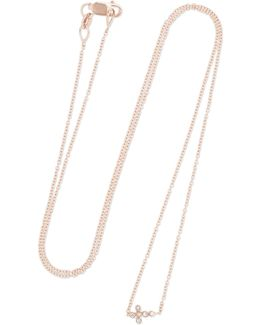 Mini Cross 18-karat Rose Gold Diamond Necklace