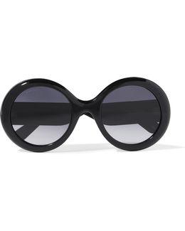 Round-frame Glittered Acetate Sunglasses
