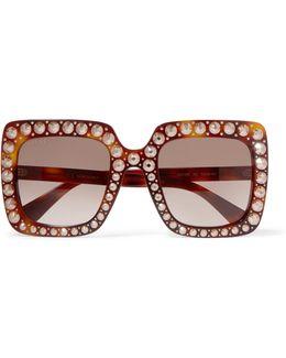 Embellished Square-frame Tortoiseshell Acetate Sunglasses