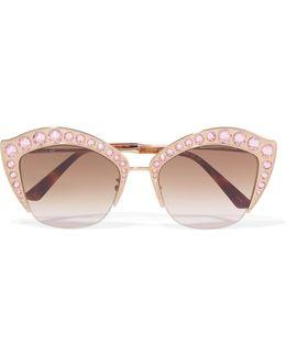 Crystal-embellished Cat-eye Gold-tone Sunglasses