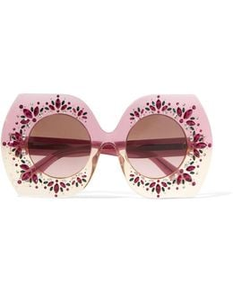 Square-frame Crystal-embellished Acetate Sunglasses