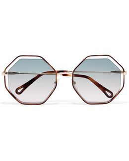 Poppy Octagon-frame Acetate And Gold-tone Sunglasses