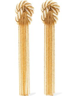 Incontro Gold-tone And Cord Clip Earrings