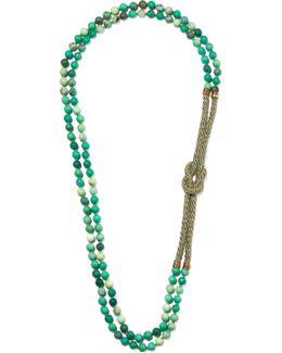 Comando Chrysoprase, Woven And Gold-tone Necklace