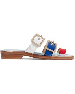 Straps Canvas-trimmed Patent-leather Sandals