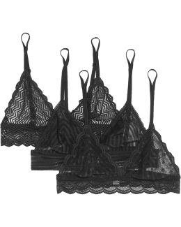 Sweet Treats Set Of Three Stretch-lace Soft-cup Bras