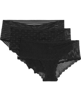 Sweet Treats Set Of Three Stretch-lace Briefs