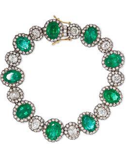 18-karat Gold, Sterling Silver, Emerald And Diamond Bracelet