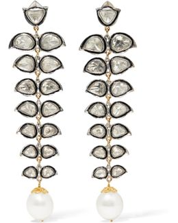 14-karat Gold, Sterling Silver, Diamond And Pearl Earrings